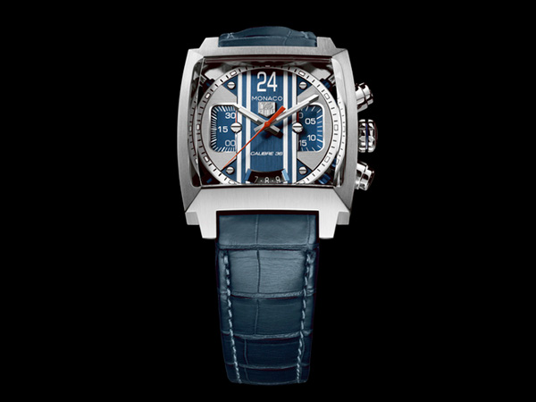 blue leather strap copy  Tag Heuer Monaco